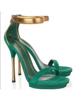 Celebrity Gucci Gold Python Emerald Strap Sandals by Gucci