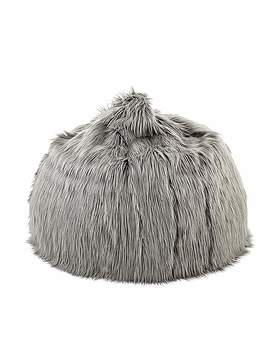 Skylar Mongolian Faux Fur Large Bagel   Grey by Dunelm