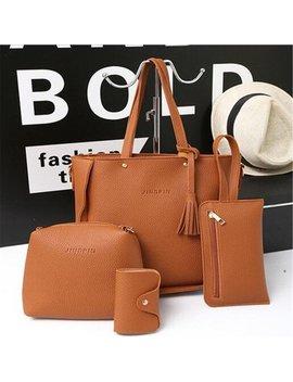 Meigar 4pcs Women Pu Leather Shoulder Bags Messenger Satchel Tote Handbags Bag Purse by Walmart