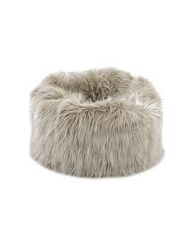 Skylar Mongolian Faux Fur Small Lounger   Champagne by Dunelm