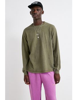 Uo Lost And Found Khaki Long Sleeve T Shirt by Urban Outfitters