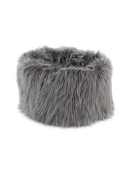 Skylar Mongolian Faux Fur Small Lounger   Grey by Dunelm