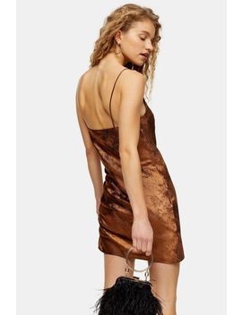 Metallic Copper Ruched Slip Dress by Topshop