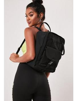 Black Canvas Buckle Detail Backpack by Missguided
