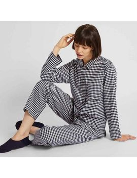 Women Stretch Flannel Long Sleeve Pajamas (Gingham Check) by Uniqlo