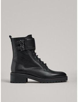Lace Up Ankle Boots With Buckles by Massimo Dutti