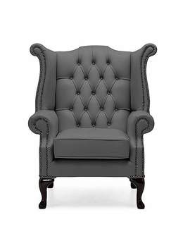 Belvedere Chesterfield Leather Queen Anne Armchair by Dunelm