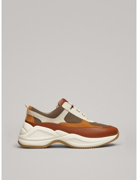 Combined Leather Trainers by Massimo Dutti