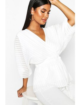 Petite Woven Sheer Stripe Wrap Batwing Blouse by Boohoo