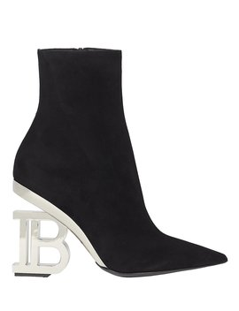 "Nicole ""B"" Logo Suede Booties by Balmain"