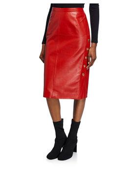 Leather Pencil Skirt by Escada