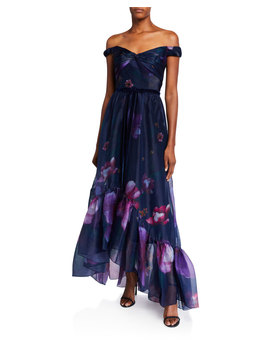 Off The Shoulder Floral Organza High Low Draped Bodice Gown by Marchesa Notte