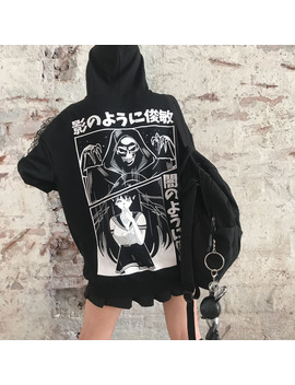 Loose Punk Style Harajuku Japanese Letter Printed Sweatshirts Female Anime Print Hooded Casual Hoodies Women Girls Pullovers by Ali Express.Com
