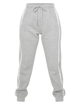 Petite Grey Double Side Stripe Jogger  by Prettylittlething