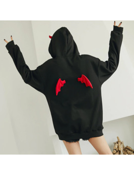 Autumn Winter Hoodies Women Punk Gothic Girls Devil Horn Chic Hooded Pullover Loose Sweatshirt High Street Harajuku Hoodies Tops by Ali Express.Com