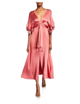 Jenny V Neck Short Sleeve Tassel Trim Dress W/ Slit by Sachin & Babi