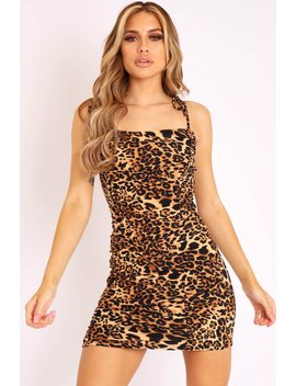 Leopard Slinky Ruched Tie Strap Bodycon Dress   Caressa by Rebellious Fashion