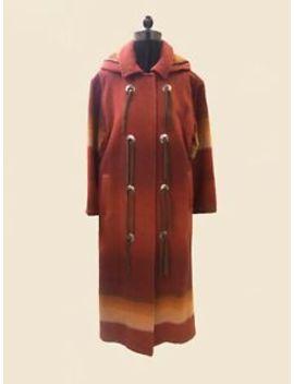 Vintage Long Woolrich Navajo Nordic Wool Coat Blanket Jacket Southwest Small by Woolrich