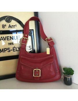 Vintage Coach Legacy Red Leather Saddle Shoulder Bag L3 Q 9340 by Coach