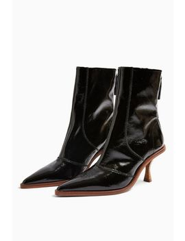 Madison Black Pointed Leather Boots by Topshop