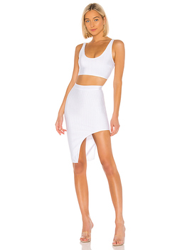 Brea Bandage Skirt Set In White by Superdown