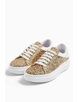 Cuba Gold Glitter Trainers by Topshop