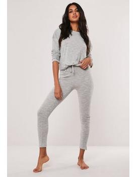 Grey Soft Knit Long Sleeve Drawstring Loungewear Set by Missguided