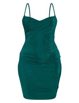 Emerald Green Textured Slinky Strappy Ruched Bodyon Dress by Prettylittlething