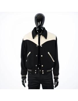 Teddy Jacket In Black Virgin Wool With Leather Cowboy Yokes by Celine  ×  Hedi Slimane  ×