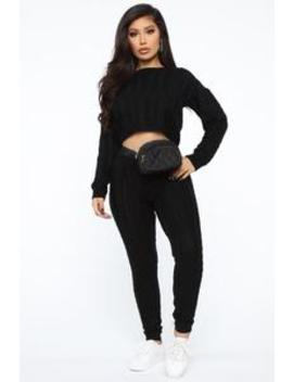 In Our Comfort Zone Sweater Set   Black by Fashion Nova