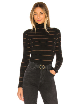 Striped Rib Turtleneck by Vince