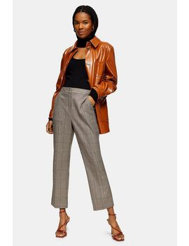 Brown Check Kick Flare Trousers by Topshop