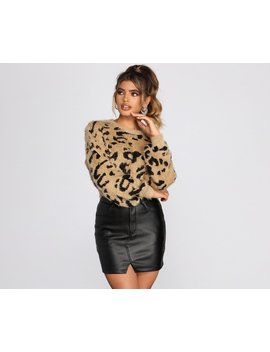 Leopard Print Eyelash Knit Cropped Sweater by Windsor