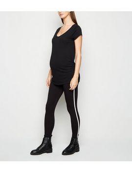 Maternity Black Side Stripe Leggings by New Look
