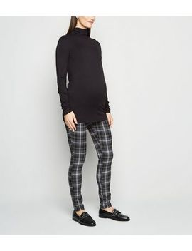 Maternity Black Check Slim Stretch Trousers by New Look