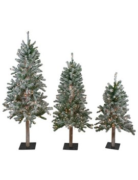 Northlight 3ct Pre Lit Flocked Alpine Artificial Christmas Trees 3ft, 4ft And 5ft   Clear Lights by Northlight