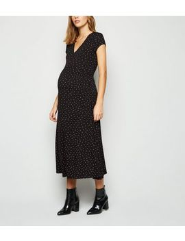 Maternity Black Spot Empire Jersey Midi Dress by New Look