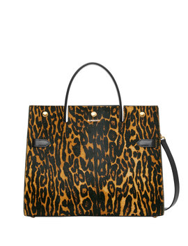 Title Medium Leopard Mix Pony Tote Bag by Burberry