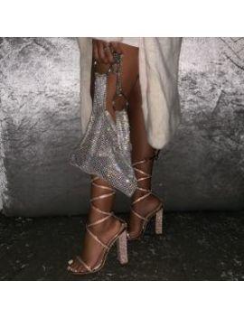 Aisha Rose Gold Mirror Lace Up Diamante Block Heels by Simmigirl