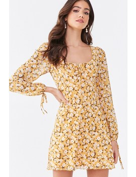 Mesh Floral Print Mini Dress by Forever 21