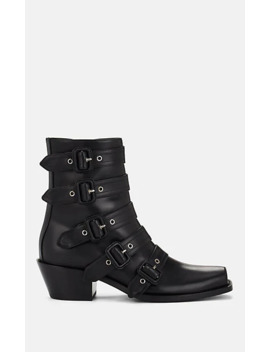 Buckle Strap Leather Ankle Boots by Burberry