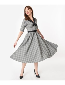 Miss Candyfloss 1950s Grey Check Maeby Swing Dress by Unique Vintage