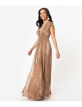 Vintage Style Bronze Shimmer Ribbed Maxi Dress by Unique Vintage