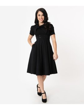 1950s Style Black Puff Sleeve Swing Dress by Unique Vintage