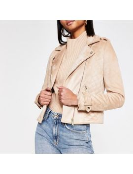 Brown Suedette Quilted Biker Jacket by River Island