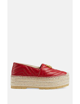 Quilted Leather Platform Espadrilles by Gucci