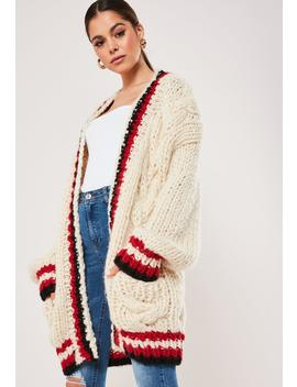 Premium Cream Varsity Cable Knit Cardigan by Missguided