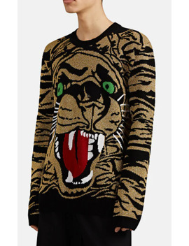 Tiger Graphic Metallic Wool Blend Sweater by Gucci