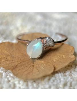 Raw Diamond Rainbow Moonstone Ring, Crystal Ring, Bohemian Ring, Healing Jewelry, Teardrop, Pear Cut, Alternative Engagement, Promise Ring by Etsy