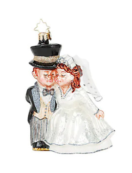 An Altared State Bride & Groom Glass Ornament by Christopher Radko